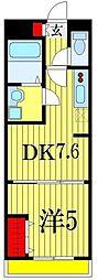 レ・ロマネスク 3階1DKの間取り