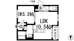 大阪府池田市井口堂2丁目の賃貸マンションの間取り