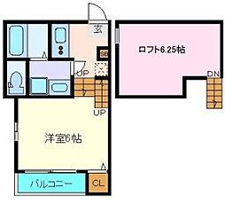 JR常磐線 南仙台駅 徒歩10分の賃貸アパート 2階1Kの間取り