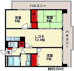 福岡県福岡市南区三宅3丁目の賃貸マンションの間取り