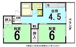 京都府京都市北区西賀茂川上町の賃貸マンションの間取り