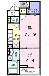 JR中央線 武蔵境駅 バス8分 野崎下車 徒歩1分の賃貸マンション 2階1LDKの間取り