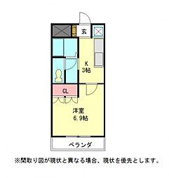 愛知県一宮市木曽川町黒田二ノ通りの賃貸アパートの間取り