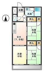 愛知県北名古屋市六ツ師松葉の賃貸マンションの間取り