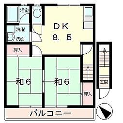 滋賀県湖南市中央2丁目の賃貸アパートの間取り