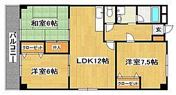 福岡県北九州市八幡西区浅川学園台3丁目の賃貸マンションの間取り