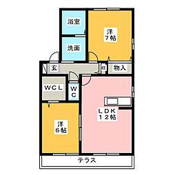 メイプル B[1階]の間取り