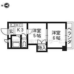 プリマベーラ西京極(旧ハウスセゾン西京極[203号室]の間取り