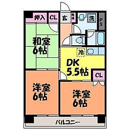 愛媛県松山市木屋町4丁目の賃貸マンションの間取り