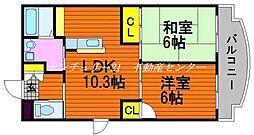 JR山陽本線 西川原駅 徒歩4分の賃貸マンション 3階2LDKの間取り