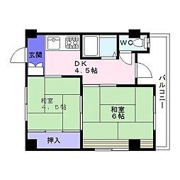マンション楠木[2階]の間取り