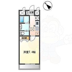 長岡京新築1Kマンション 1階1Kの間取り