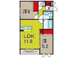 埼玉県川口市弥平2丁目の賃貸アパートの間取り