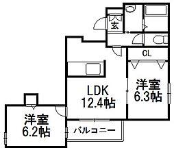 北海道札幌市西区八軒十条東3丁目の賃貸マンションの間取り