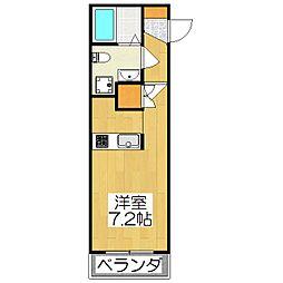 THE GARNET SUITE RESIDENCE深草 3階ワンルームの間取り