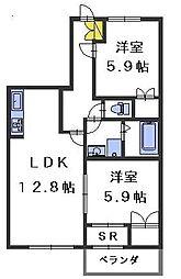 ドゥMKK[2階]の間取り
