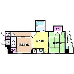JR東海道・山陽本線 六甲道駅 徒歩3分の賃貸マンション 6階2DKの間取り