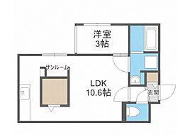 Laurel 3階1LDKの間取り