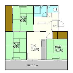 北海道札幌市厚別区もみじ台西3丁目の賃貸マンションの間取り