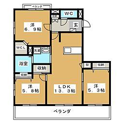 Blanc Court E(東)、W(西)[2階]の間取り