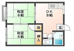 岡山県岡山市南区福成1丁目の賃貸アパートの間取り