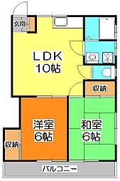 東京都清瀬市野塩3丁目の賃貸アパートの間取り