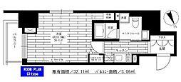 東京メトロ南北線 六本木一丁目駅 徒歩3分の賃貸マンション 3階1Kの間取り