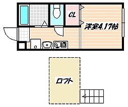 京成本線 京成船橋駅 徒歩24分の賃貸アパート 2階1SKの間取り