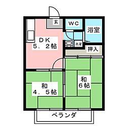 サンライフS 2階2DKの間取り