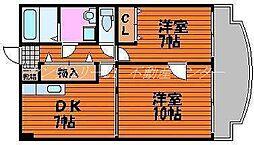 岡山県岡山市北区鹿田本町の賃貸マンションの間取り