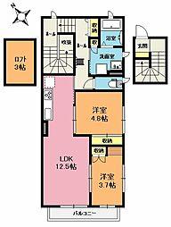 埼玉県上尾市本町5丁目の賃貸アパートの間取り