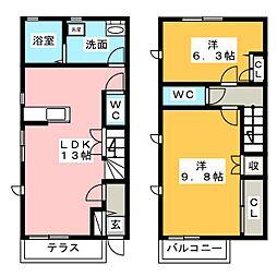 [テラスハウス] 静岡県富士宮市大岩 の賃貸【/】の間取り