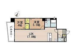 JR京浜東北・根岸線 さいたま新都心駅 徒歩10分の賃貸マンション 10階2LDKの間取り