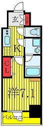 東武東上線 北池袋駅 徒歩12分の賃貸マンション 7階1Kの間取り
