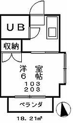 サニーコーポ第2[203号室]の間取り