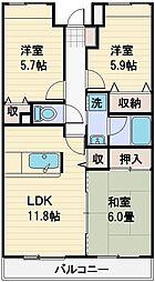 プリムローズ上福岡[5階]の間取り