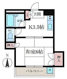 オヌママンション[401号室]の間取り