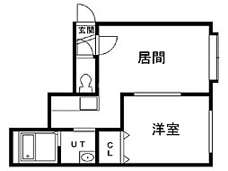 フォレスト澄川 2階1DKの間取り