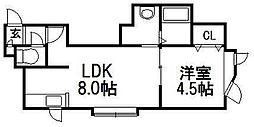 KAZU菊水[2階]の間取り