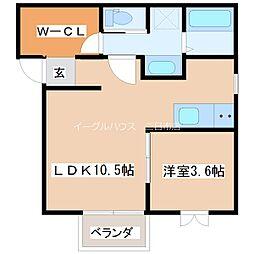 イルシオン朝倉街道 1階1LDKの間取り