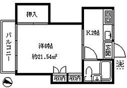 富士見台カラタハイツ[202号室]の間取り