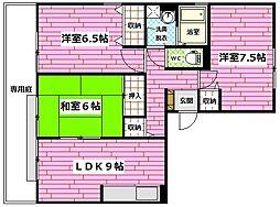 ハイツYAMADAII[3階]の間取り