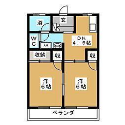ハイツ大利根II[2階]の間取り