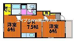 JR山陽本線 万富駅 5.3kmの賃貸アパート 1階2DKの間取り