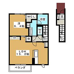 京和風学戸 2階1LDKの間取り