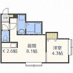 北海道札幌市北区北二十七条西6丁目の賃貸アパートの間取り