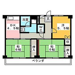 ビレッジハウス三好 4号棟[4階]の間取り
