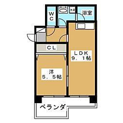 エターナルコート三条[4階]の間取り