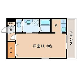 JR東海道本線 静岡駅 徒歩14分の賃貸マンション 4階ワンルームの間取り