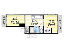 Osaka Metro谷町線 千林大宮駅 徒歩5分の賃貸マンション 2階2DKの間取り